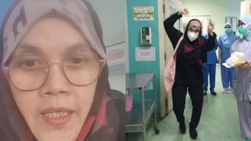 Melompat Kegembiraan! Aishah Ceria Keluar Hospital Selepas Hidap COVID-19, Sempat Payung Lagu Bahtera Merdeka